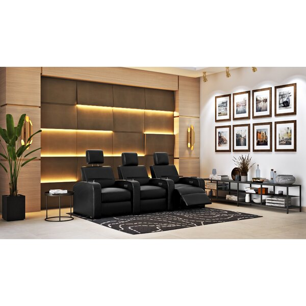 Power Recline Leather Home Theater Sofa (Row Of 3) By Latitude Run