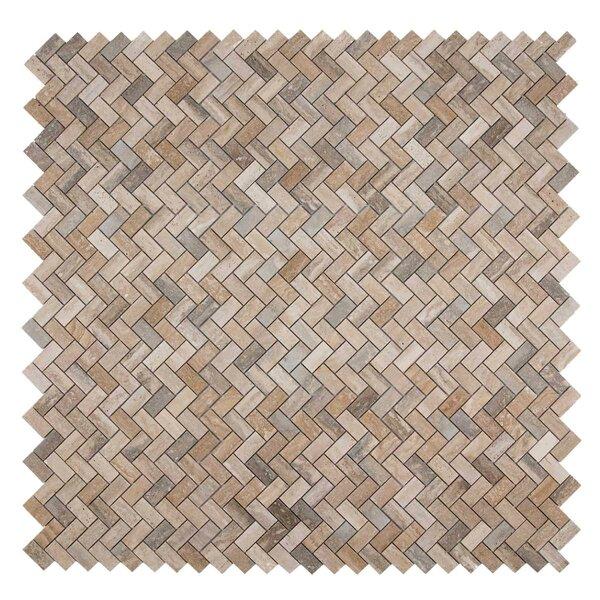 Sadie 12.06 x 12.06 Marble Mosaic Tile in Travertine by Maykke
