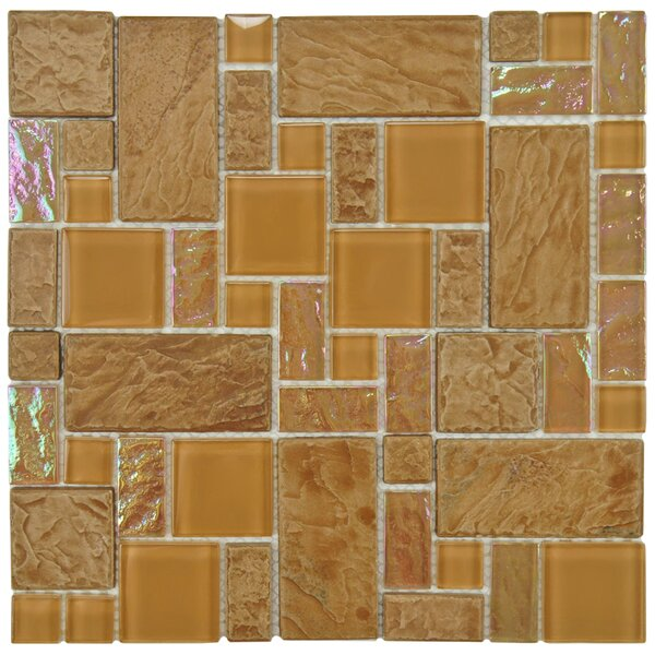 Eden Random Sized Glass and Natural Stone Mosaic Tile in Peony by EliteTile