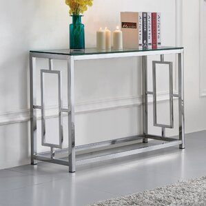 Tameka Glass Console Table by Rosdorf Park