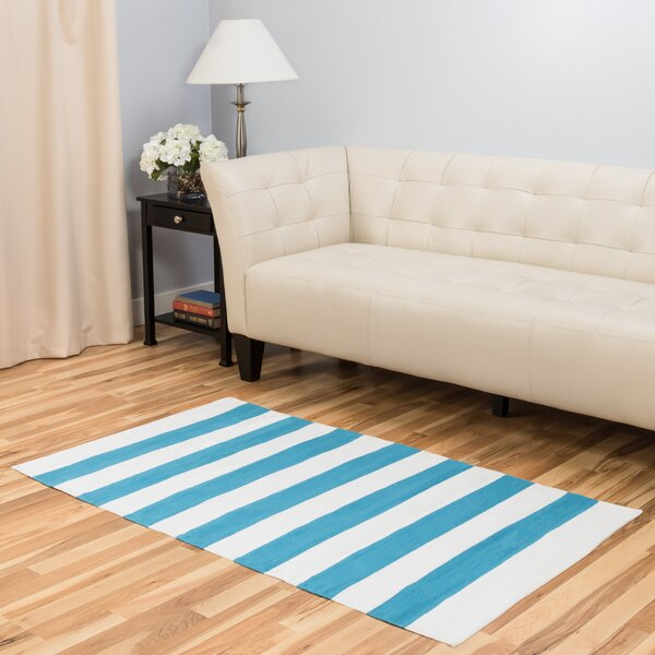 Hand-Loomed Turquoise/White Indoor/Outdoor Area Rug by Harbormill