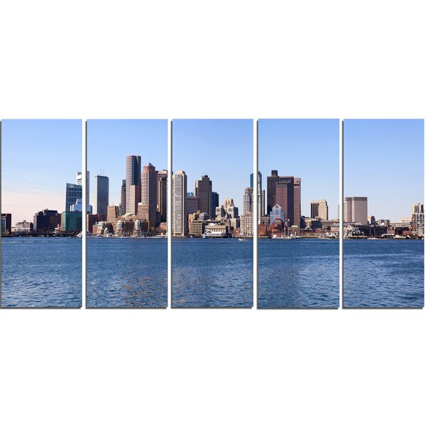 Boston Skyline Panorama 5 Piece Wall Art on Wrapped Canvas Set by Design Art