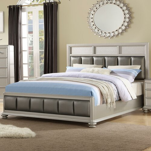 Benzara Modish Poplar Wood California King Size Bed In Silver Grey Wayfair Ca