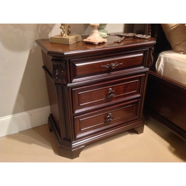 Popovich Intricately Carved Wooden 3 Drawer Nightstand by Astoria Grand