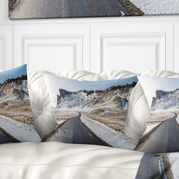 Landscape Range Road in Winter Mountains Pillow by East Urban Home