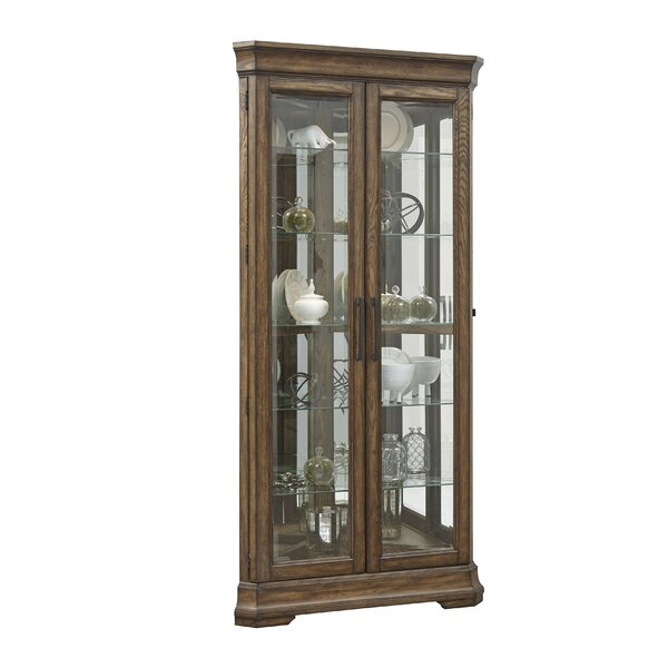 Caudill 5 Shelf Double Door Lighted Corner Curio Cabinet by Longshore Tides