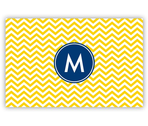Chevron Single Initial Laminated Placemat by Boatman Geller