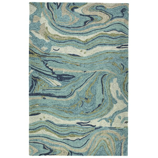Bargas Hand Tufted Wool Teal Area Rug by Wade Logan