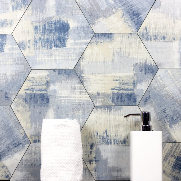 Nature 8 x 8 Glass Hexagon Tile in Cement Blue/Gray by Abolos