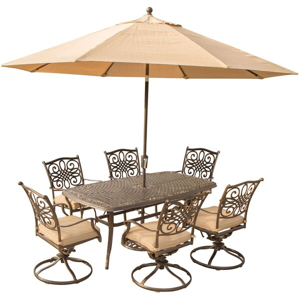 Lauritsen 7 Piece Dining Set with Brown Cushions by Three Posts