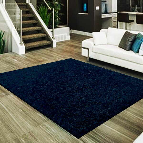 Mcquay 3 Type of Yarn Shag Hand-Tufted Navy Area Rug by Latitude Run