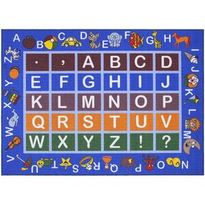 Children's Educational Blue Area Rug