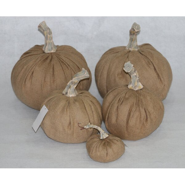 5 Piece Luscious Natural Burlap Inflatable Pumpkin Set by RG Style