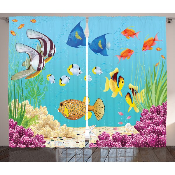Water Plants and Fishes Decor Wildlife Room Darkening Rod Pocket Curtain Panels (Set of 2) by East Urban Home