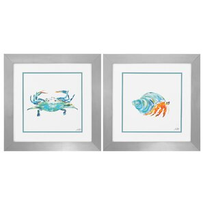 Creatures 2 Piece Framed Painting Print Set by Beachcrest Home