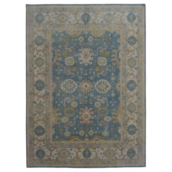 One-of-a-Kind Finadeni Traditional Oriental Hand-Knotted Wool Blue Area Rug by Isabelline