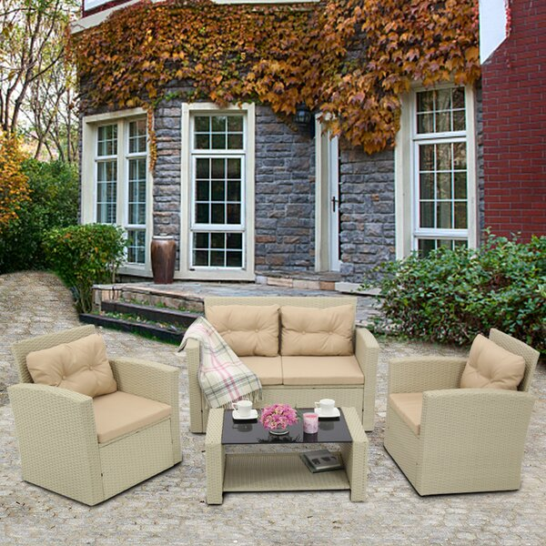 Allesha Patio 4 Piece Rattan Sectional Seating Group with Cushions by Latitude Run
