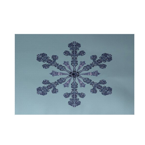 Vail Decorative Holiday Print Light Blue Indoor/Outdoor Area Rug by The Holiday Aisle