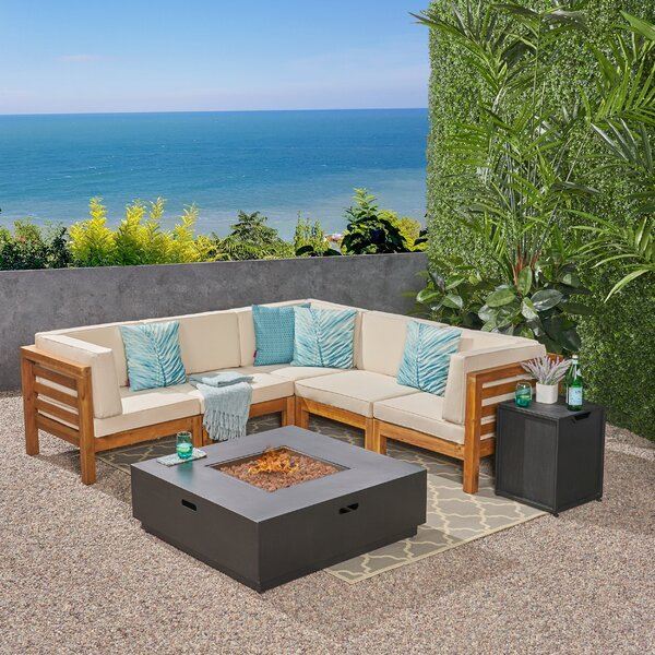 Maxwell Outdoor 7 Piece Sectional Seating Group with Cushions by Rosecliff Heights