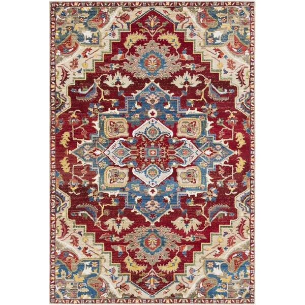 Arbouet Floral Red/Cream Area Rug by Charlton Home