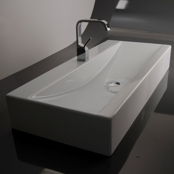 Ceramica Ceramic Rectangular Vessel Bathroom Sink with Overflow by WS Bath Collections