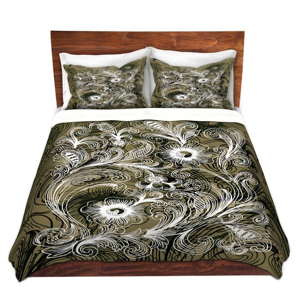 Coffee Flowers Olive Duvet Cover Set