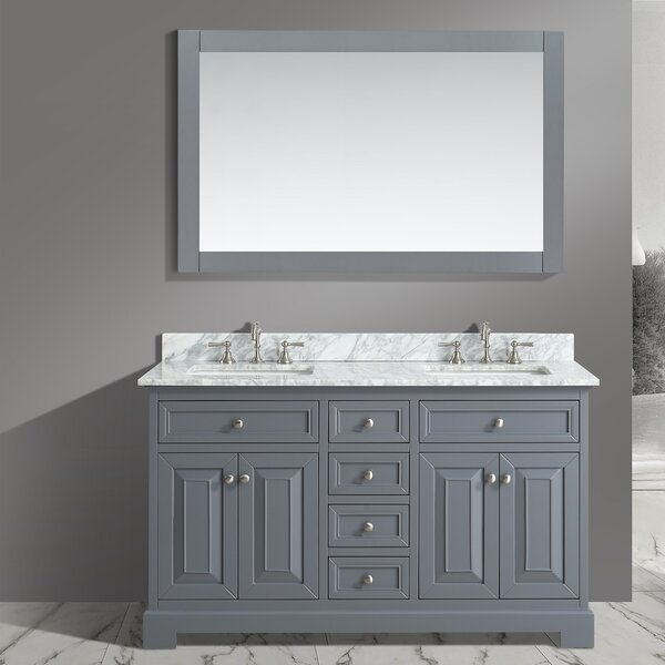 Cathey 60 Double Bathroom Vanity Set with Mirror by Charlton Home