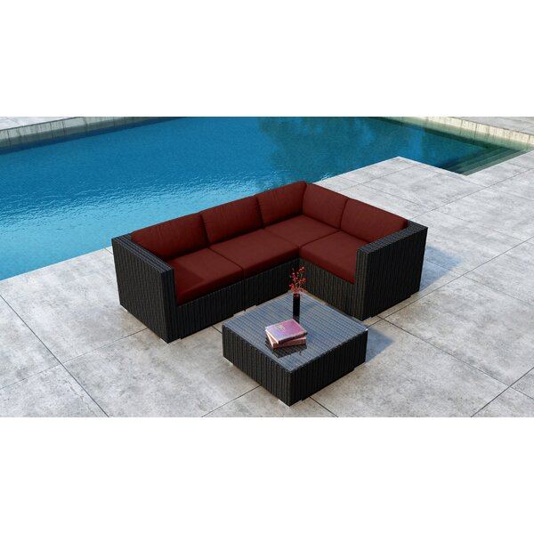 Glendale 5 Piece Rattan Sunbrella Sectional Seating Group Cushions by Everly Quinn