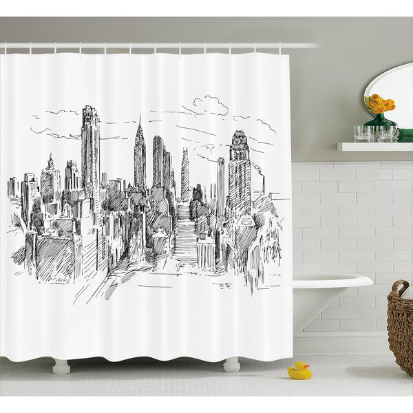 Blondelle Sketchy NYC Cityscape Shower Curtain by Ebern Designs