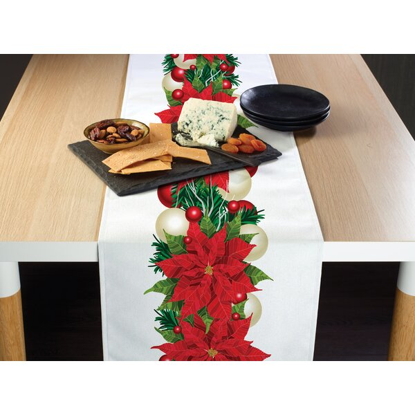 Engram Christmas Poinsettia Border Table Runner by The Holiday Aisle