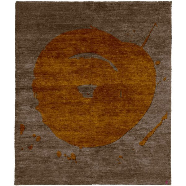 One-of-a-Kind Katya Hand-Knotted Tibetan Brown 8' Square Wool Area Rug