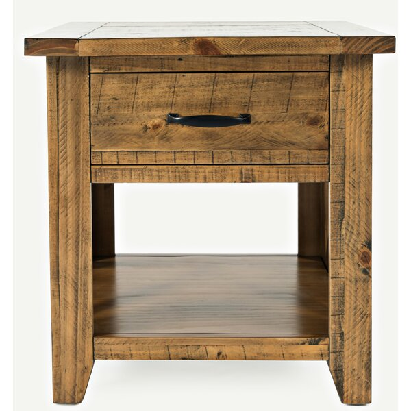 Thame Solid Wood End Table With Storage By Loon Peak