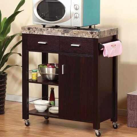 Houchins Kitchen Cart with Faux Marble Top by Fleur De Lis Living