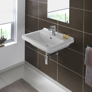 Clearance Pro Vitreous China 24 Wall Mount Bathroom Sink with Overflow By Bissonnet