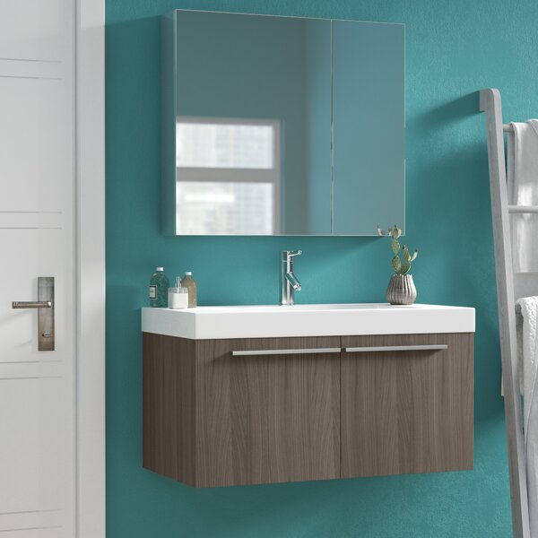 Frausto 35 Wall-Mounted Single Bathroom Vanity Set with Mirror by Brayden Studio