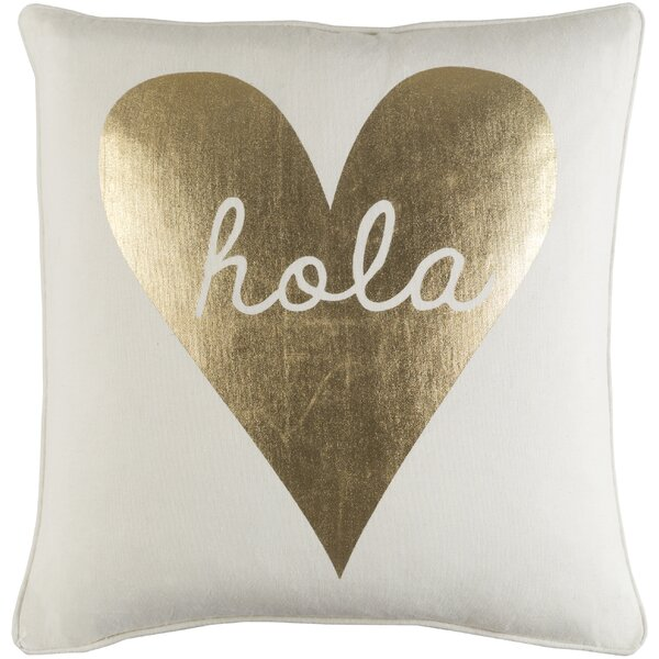 Carnell Hola Heart Cotton Throw Pillow by Mercury Row
