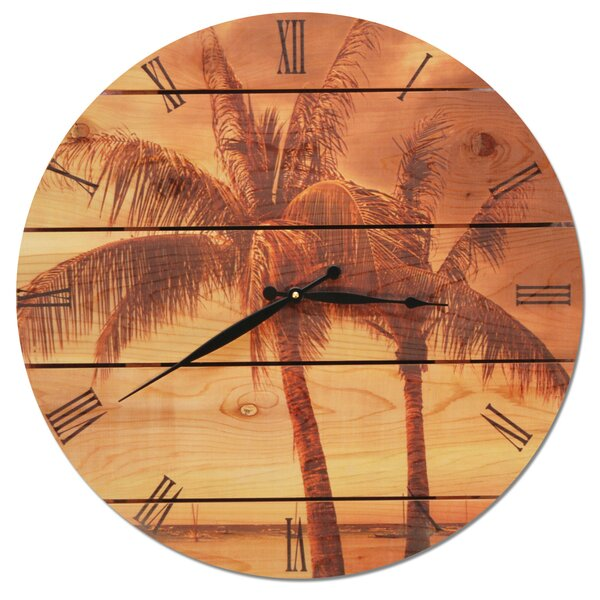 Vintage Tropic 30 Cedar Wall Clock by Gizaun Art