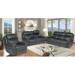 Aous 3 Piece Leather Reclining Living Room Set by Red Barrel Studio®