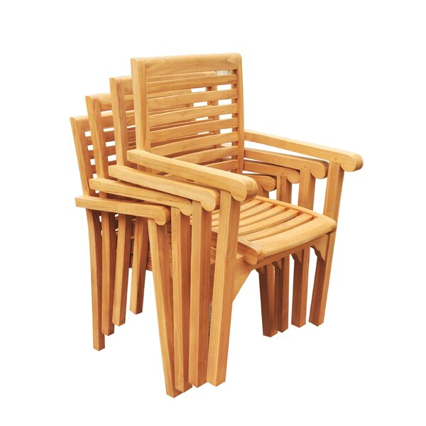 Douberly Stacking Teak Patio Dining Chair (Set of 6) by Rosecliff Heights