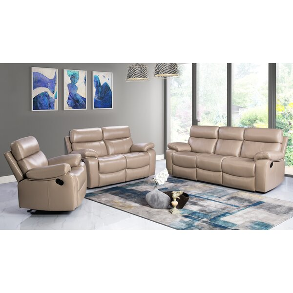 Mellor 3 Piece Leather Living Room Set by Red Barrel Studio