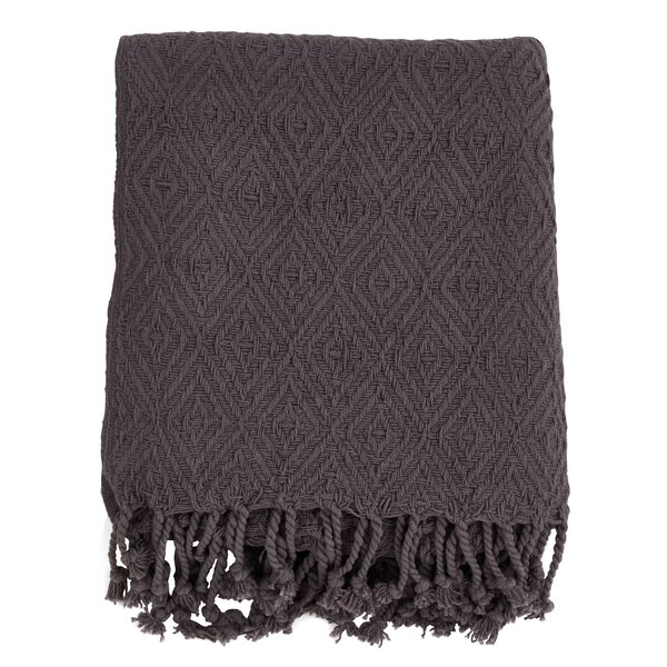 Hornersville Tassel Diamond Weave Throw by Bungalow Rose