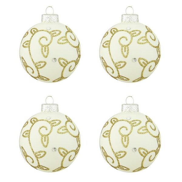 Swirled Leaf Design Glass Ball Christmas Ornament (Set of 4) by Northlight Seasonal