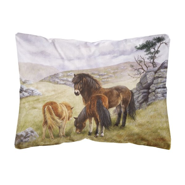 Rutz Horses in the Meadow Fabric Indoor/Outdoor Throw Pillow by Winston Porter