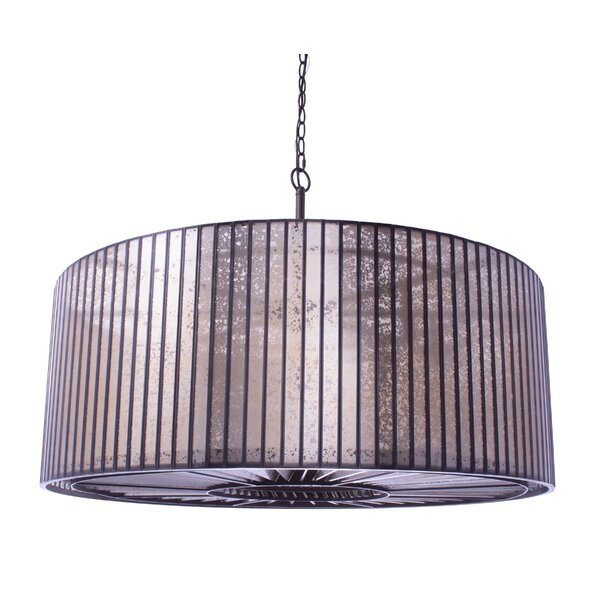 Azriel 8 - Light Shaded Drum Chandelier with Wrought Iron Accents by Rosdorf Park Rosdorf Park