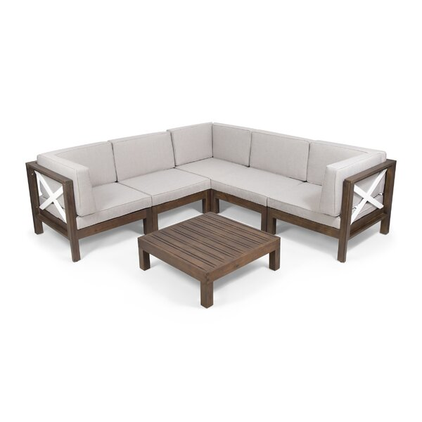 Paul Outdoor 6 Piece Sectional Seating Group with Cushions by Breakwater Bay