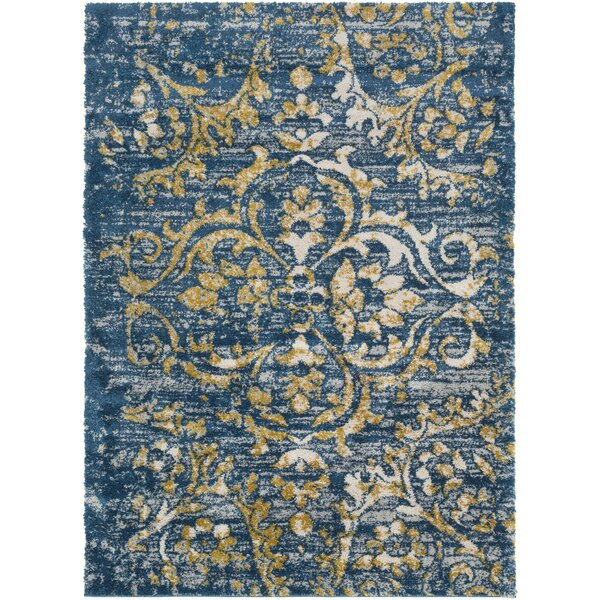 Ingram Dark Blue/Mustard Area Rug by World Menagerie