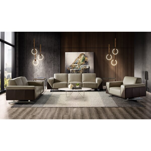 Best #1 Bonneauville 3 Piece Leather Living Room Set By Orren Ellis Great price