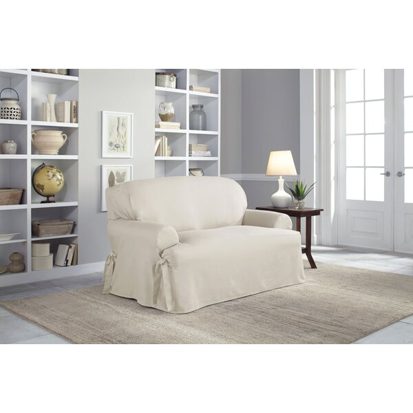 Cotton Duck T-Cushion Loveseat Slipcover By Serta Cheap