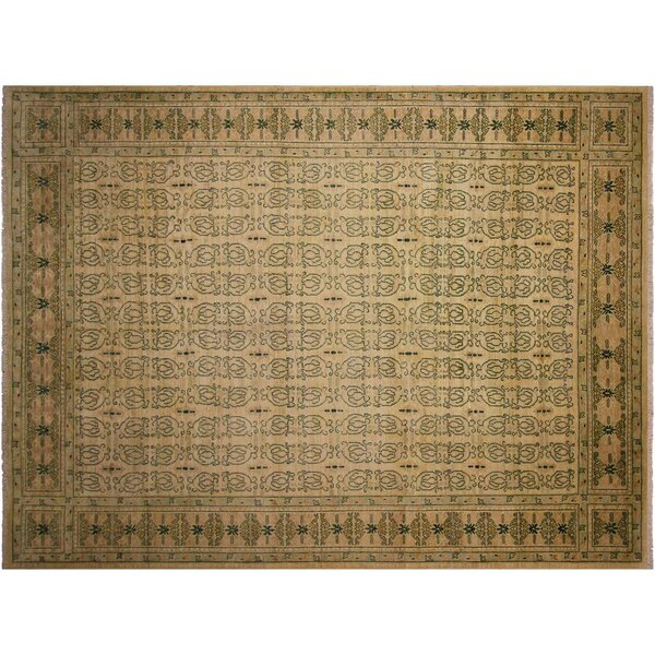 Badham Hand-Knotted Wool Light Tan/Green Area Rug by Bloomsbury Market