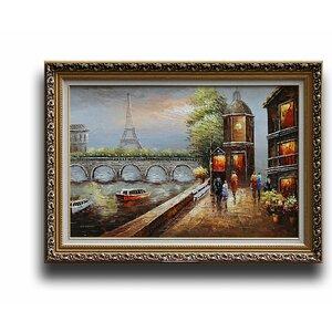 Paris Eiffel Tower Urban Street' Framed Painting by Greenville Signature